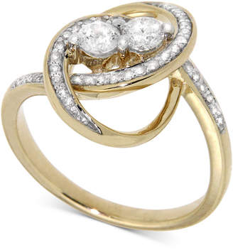 Wrapped In Love Diamond Two-Stone Oval Ring (1/2 ct. t.w.) in 14k Gold, Created for Macy's