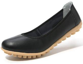 EasyChicStore Women's Solid Color Genuine Leather Ballet Flat Slip On Moccasins Shoes 6.5