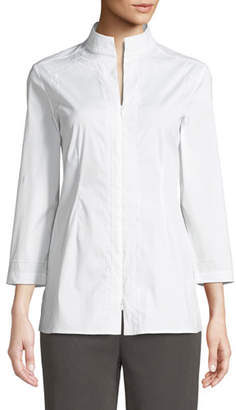 Misook Funnel-Neck Zip-Front Embroidered Blouse