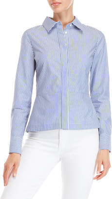 Derek Lam 10 Crosby Stripe Lace-Up Back Long Sleeve Shirt