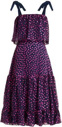 Saloni Jessie polka-dot devoré silk-blend dress