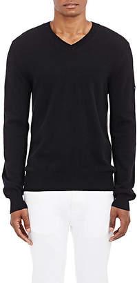 Comme des Garcons Men's Heart Wool V-Neck Sweater - Black