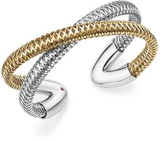 Roberto Coin 18K White and Yellow Gold Primavera Cross Cuff Bracelet - 100% Exclusive