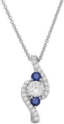 Diamonluxe DiamonLuxe Sterling Silver 1 1/3 Carat T.W. Simulated Diamond & Lab-Created Sapphire Pendant
