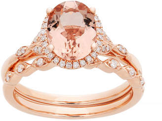 FINE JEWELRY Modern Bride Gemstone Genuine Morganite & 1/5 CT. T.W. Genuine Diamond 10K Rose Gold Bridal Set