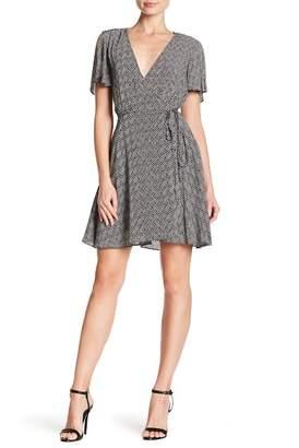 AAKAA Surplice V-Neck Print Dress