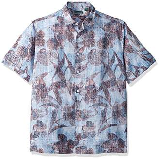 Cubavera Men's Short Sleeve Linen-Blend Tropical Floral Print Button-Down Shirt