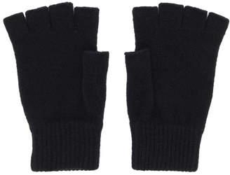 Paul Smith Black Wool Fingerless Gloves