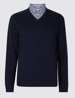 Marks and Spencer Pure Cotton Checked Mock Shirt Jumper