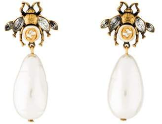 Gucci Crystal & Faux Pearl Bee Drop Earrings gold Crystal & Faux Pearl Bee Drop Earrings