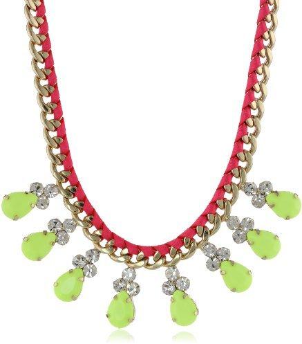 """Steve Madden Neon Green Teardrop Necklace, 21"""""""