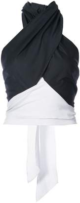 Tome bicolour halterneck top with back tie