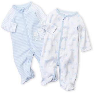 Little Me Newborn/Infant Boys) Two-Pack Stripe & Bear Footie Set