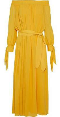 Derek Lam Off-The-Shoulder Belted Silk-Georgette Midi Dress