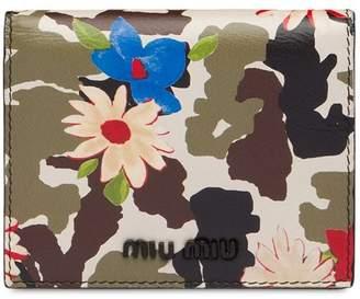 Miu Miu camouflage and floral print wallet