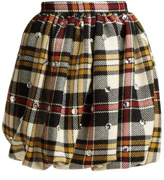 Miu Miu Crystal-embellished tartan wool mini skirt