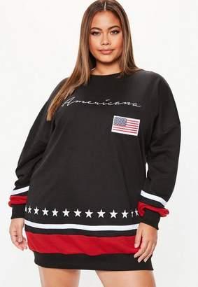 Missguided Plus Size Black Long Sleeve USA Sweater Dress