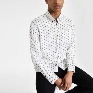 River Island Mens Jack & Jones White print long sleeve shirt