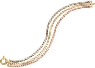 "Imperial Gold 8"" Wheat Tri-Color Bracelet, 14K Gold, 17.4g"