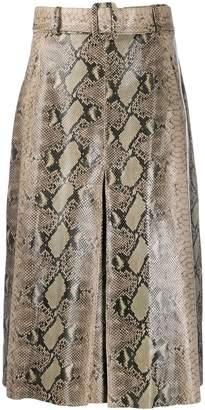 Tommy Hilfiger A-line snakeskin print skirt