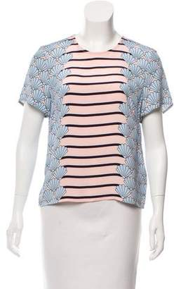 Markus Lupfer Seashell Print Silk Top w/ Tags