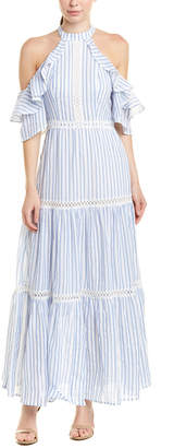 Champagne & Strawberry Cold-Shoulder Maxi Dress