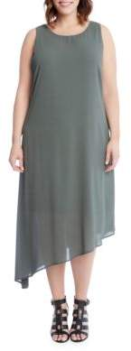 Karen Kane Plus Plus Olive Asymmetric Hem Dress