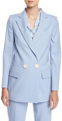 Oscar de la Renta Double-Breasted Stretch-Wool Jacket