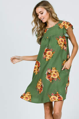 Ces Femme Sage Floral Dress with Ruffle Sleeves and Pockets