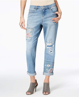 Style&Co. Style & Co Patched Boyfriend Jeans, Created for Macy's