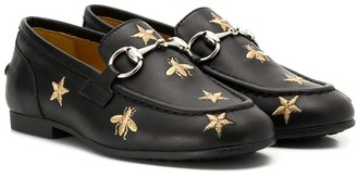 Gucci Kids bee and star embroidered loafers