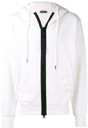 Tom Ford contrast zip hoodie