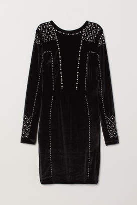 H&M Velour Dress with Beads - Black
