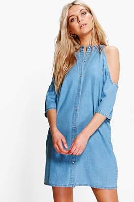 boohoo Longline Cold Shoulder Denim Shirt Dress