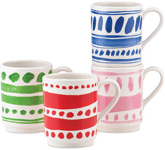 Kate Spade all in good taste Set of 4 Illustrated Stacking Mugs