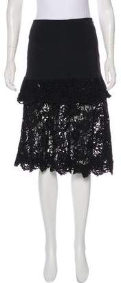 Alexis Guipure Lace-Trimmed Knee-Length Skirt