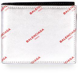 Balenciaga Metallic Leather Logo Wallet $285 thestylecure.com