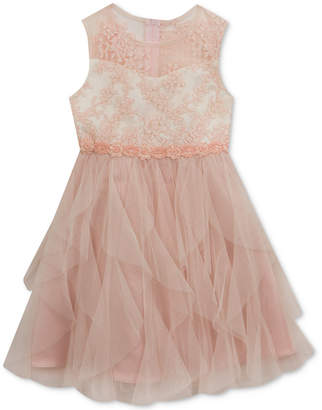 Rare Editions Floral-Embroidered Bodice Dress, Little Girls