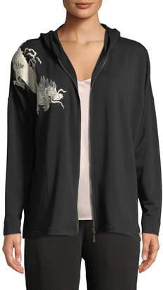 Natori Dragon-Embroidered Zip-Front Hoodie