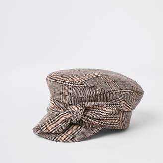 River Island Womens Brown check print bow baker boy hat