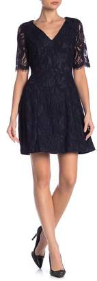 Rachel Roy Lace Fit & Flare Short Sleeve Dress