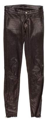 J Brand Leather Low-Rise Pants