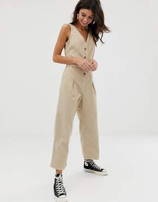 Asos (エイソス) - Asos Design ASOS DESIGN button through jumpsuit cord in stone