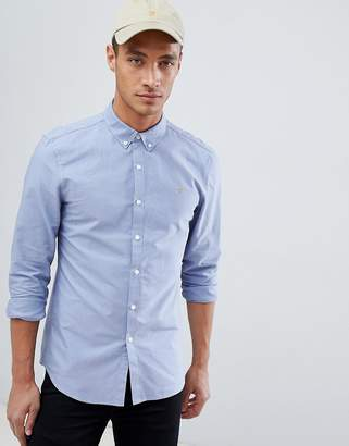 Farah Brewer slim fit oxford shirt in blue