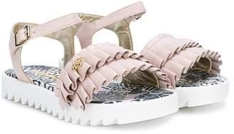 Roberto Cavalli Junior ruffle buckle sandals