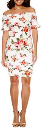 Bisou Bisou Short Sleeve Floral Bodycon Dress