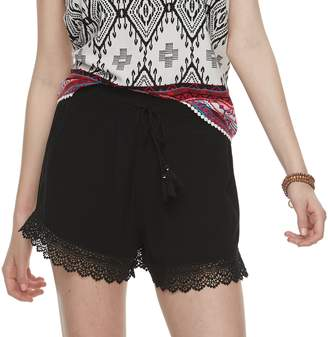 Mudd Juniors' Crochet-Hem Shorts