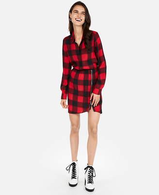 Express Plaid Ruched Side Zip Shirt Dress