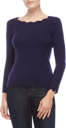 Qi Petite Cashmere Scalloped Trim Sweater