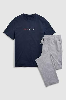 Next Mens Navy Off Duty Jersey Long Set